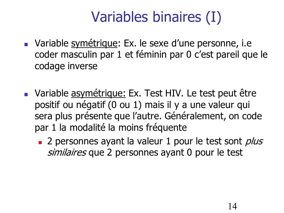 Variables binaires (I)