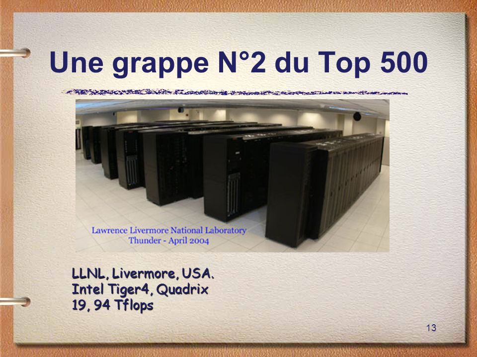 Une grappe N°2 du Top 500 LLNL, Livermore, USA. Intel Tiger4, Quadrix