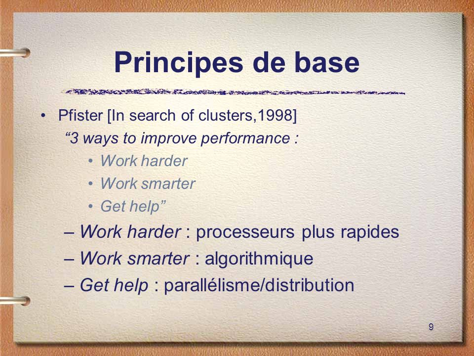 Principes de base Work harder : processeurs plus rapides
