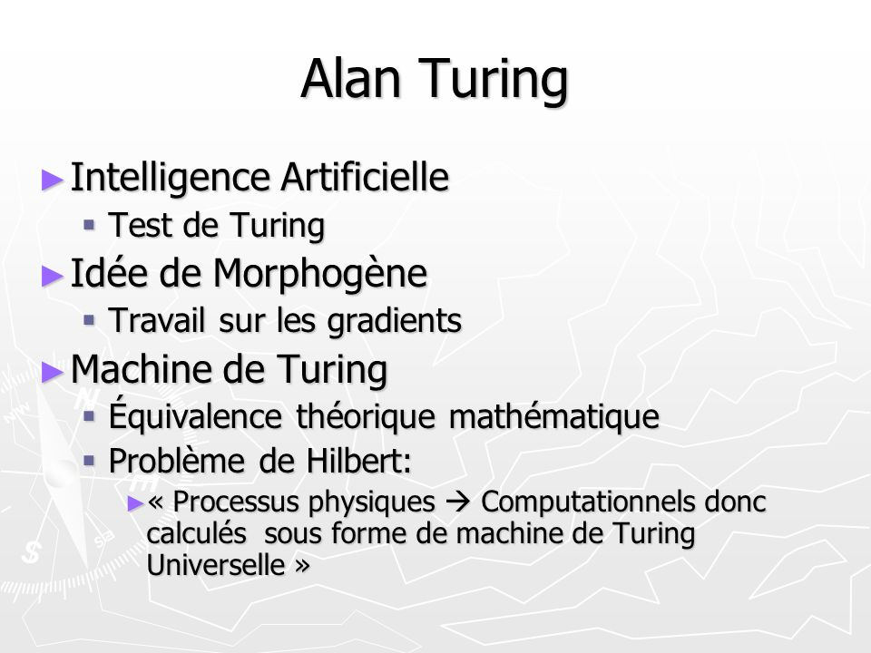 Alan Turing Intelligence Artificielle Idée de Morphogène