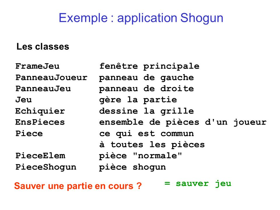 Exemple : application Shogun