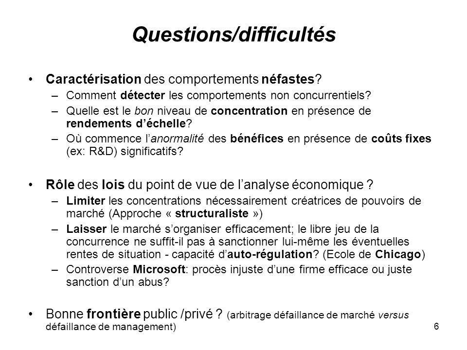 Questions/difficultés