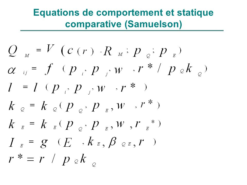 Equations de comportement et statique comparative (Samuelson)