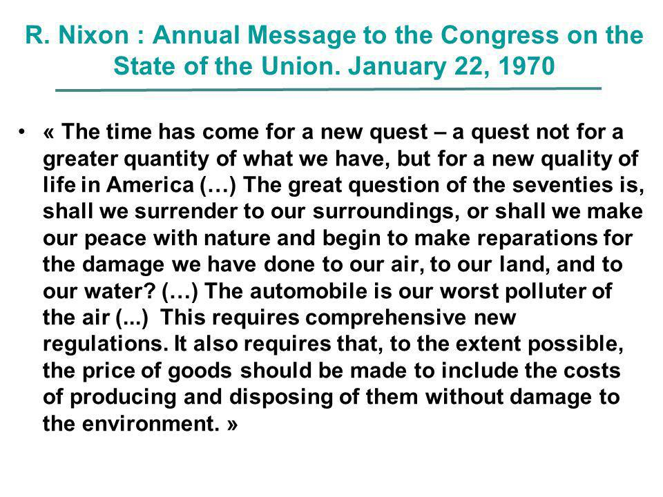 R. Nixon : Annual Message to the Congress on the State of the Union