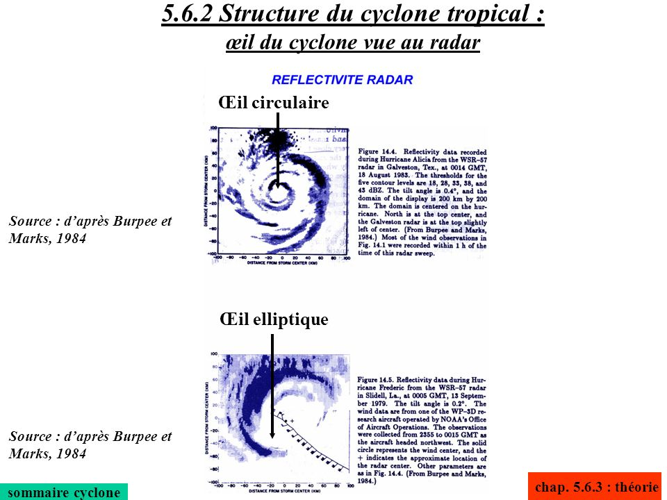 5.6.2 Structure du cyclone tropical : œil du cyclone vue au radar