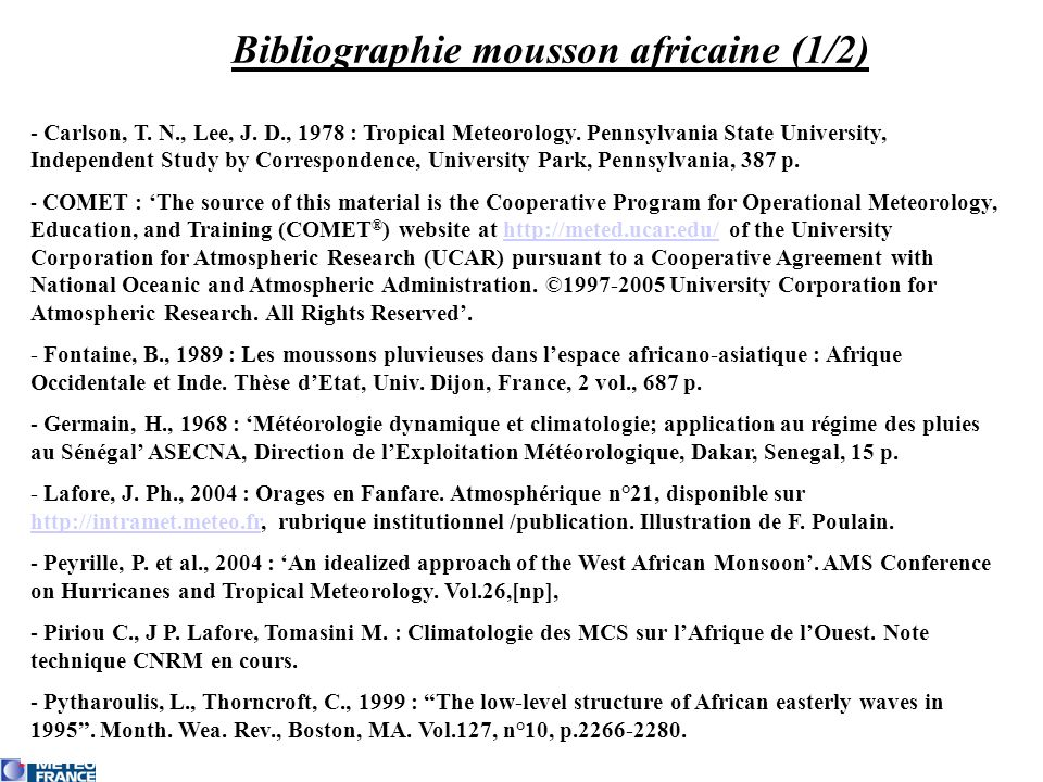 Bibliographie mousson africaine (1/2)