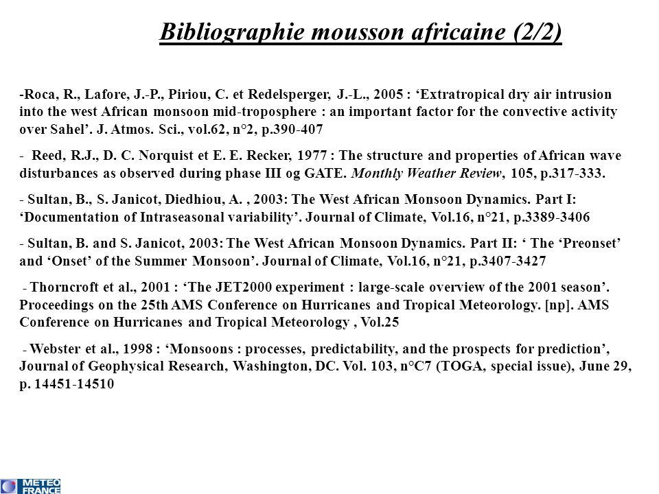 Bibliographie mousson africaine (2/2)