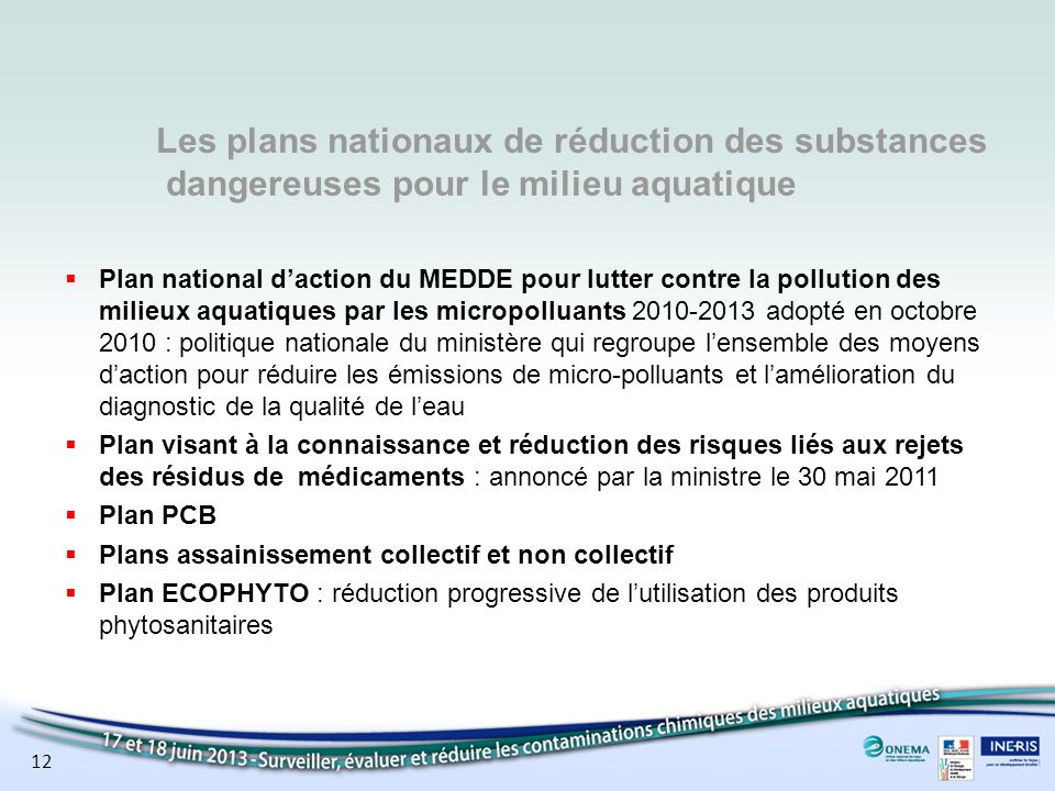 Les plans nationaux de réduction des substances