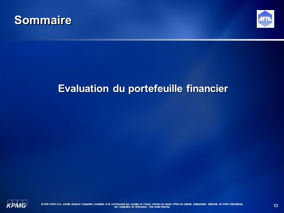 Evaluation du portefeuille financier