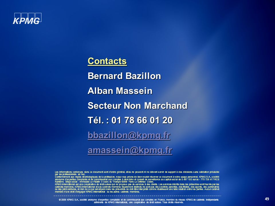 Contacts Bernard Bazillon Alban Massein Secteur Non Marchand