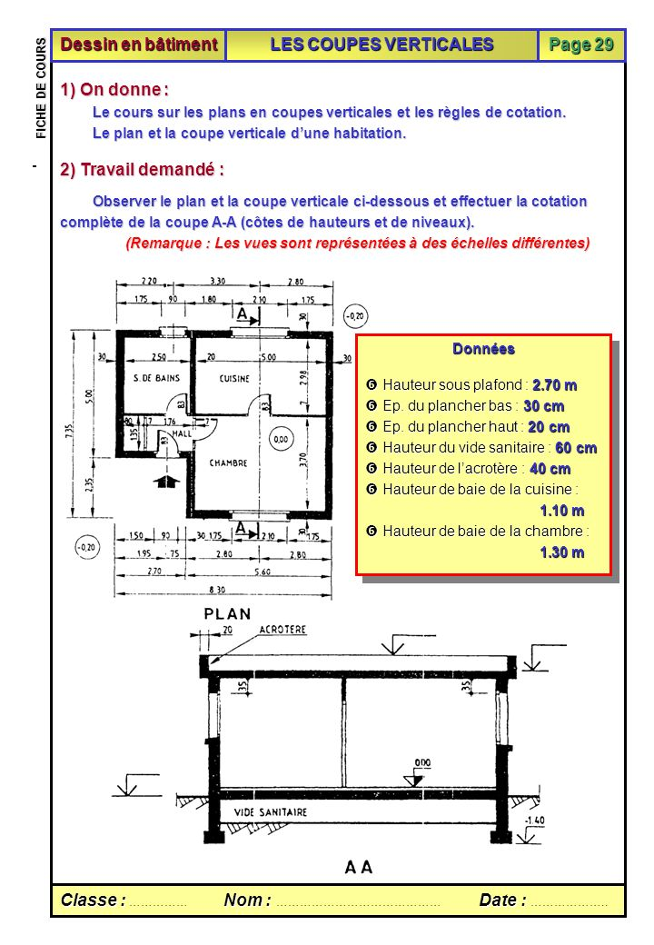 fiche de cours sur les coupes verticales ppt video online t l charger. Black Bedroom Furniture Sets. Home Design Ideas