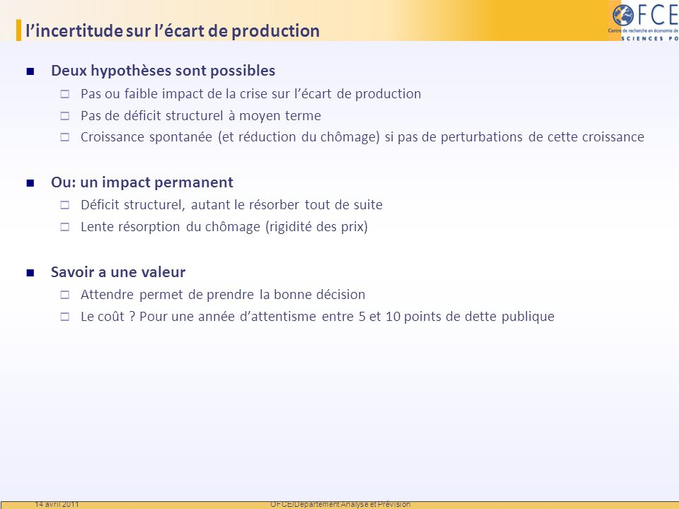 l'incertitude sur l'écart de production