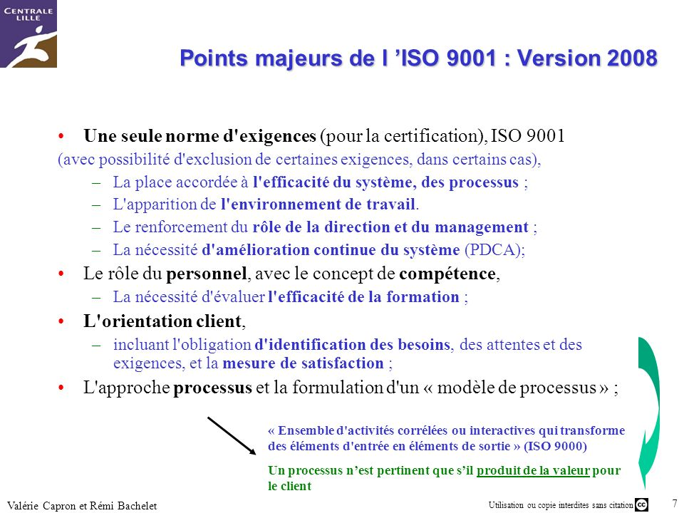Points majeurs de l 'ISO 9001 : Version 2008