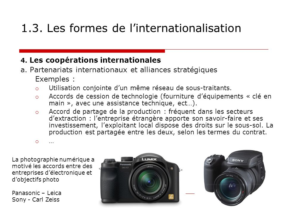 1.3. Les formes de l'internationalisation