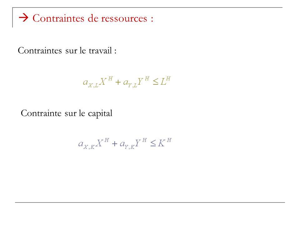  Contraintes de ressources :