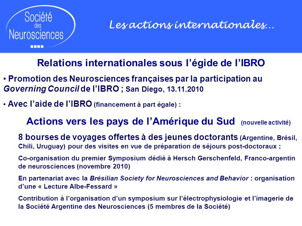 Les actions internationales…