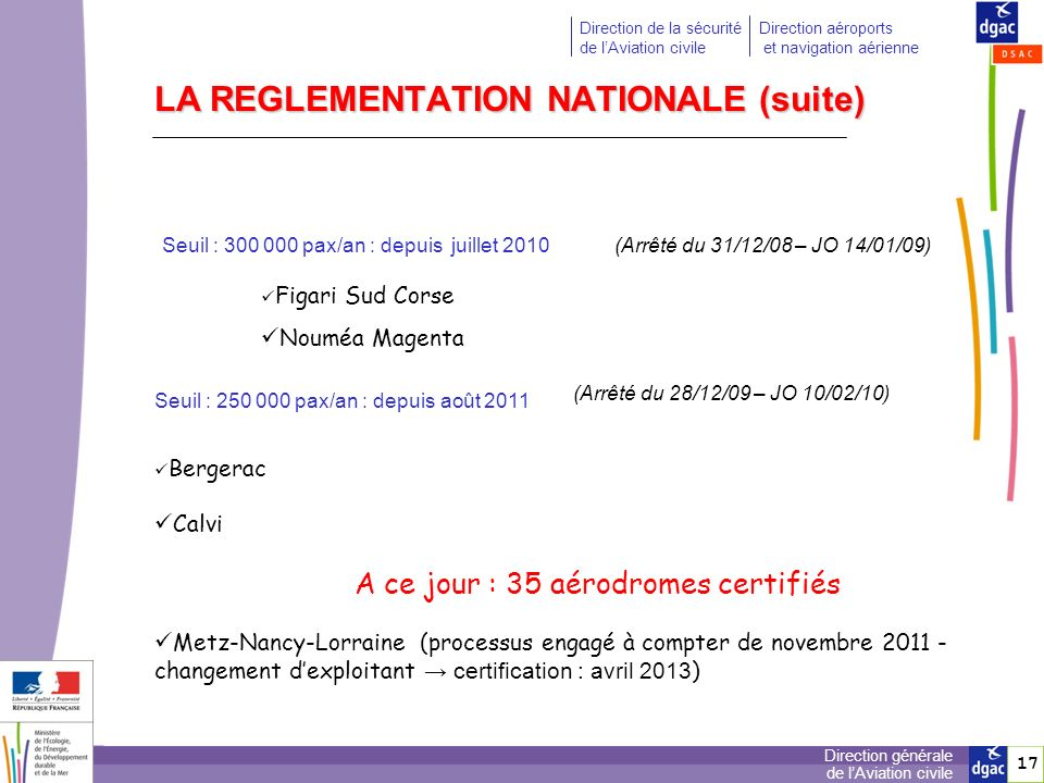 LA REGLEMENTATION NATIONALE (suite)