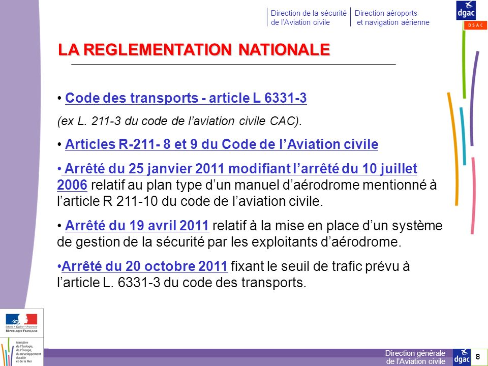 LA REGLEMENTATION NATIONALE