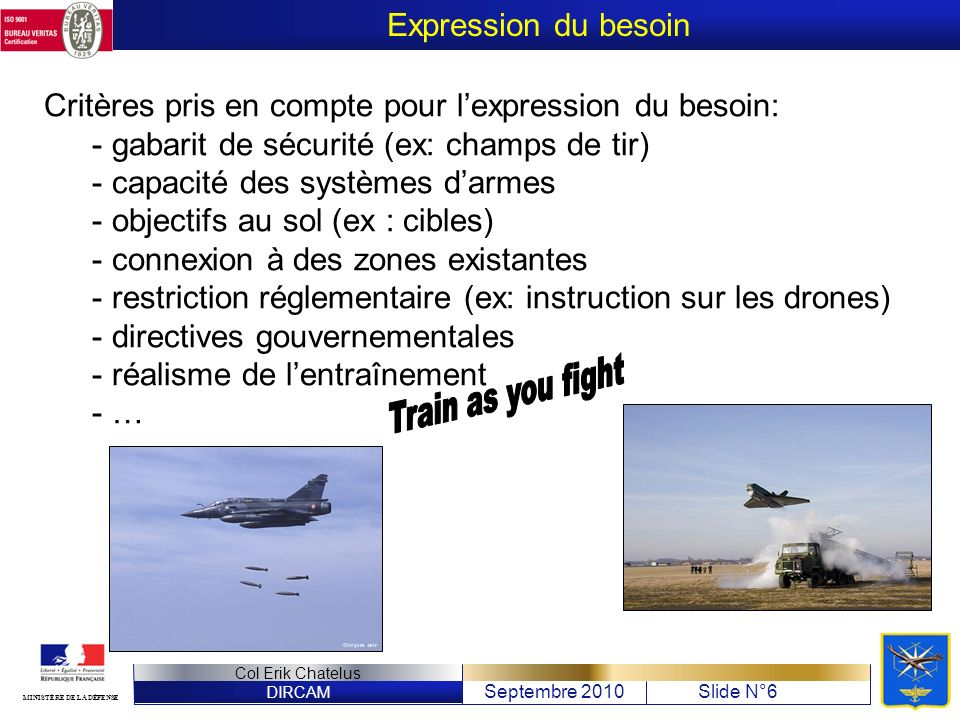 Train as you fight Expression du besoin