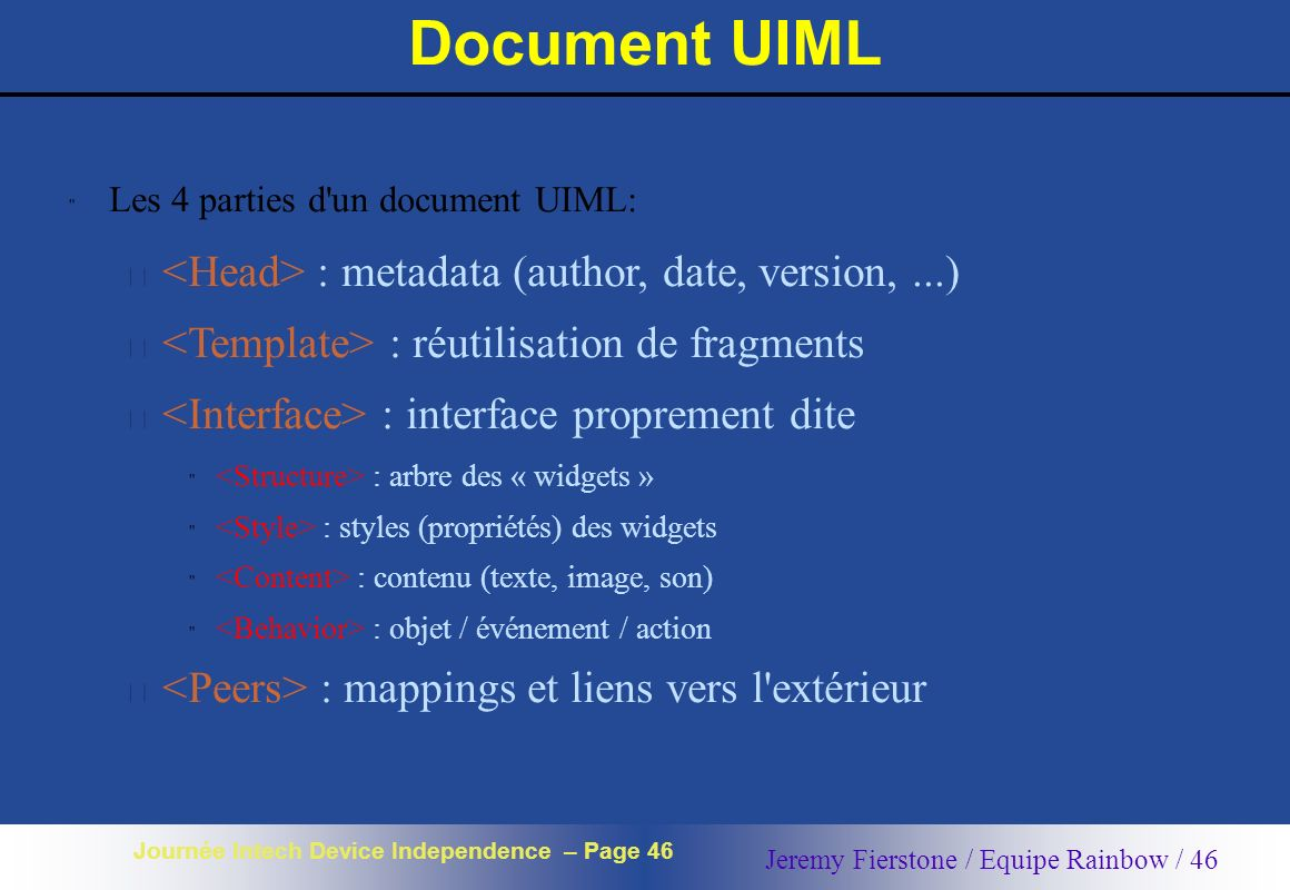 Document UIML <Head> : metadata (author, date, version, ...)