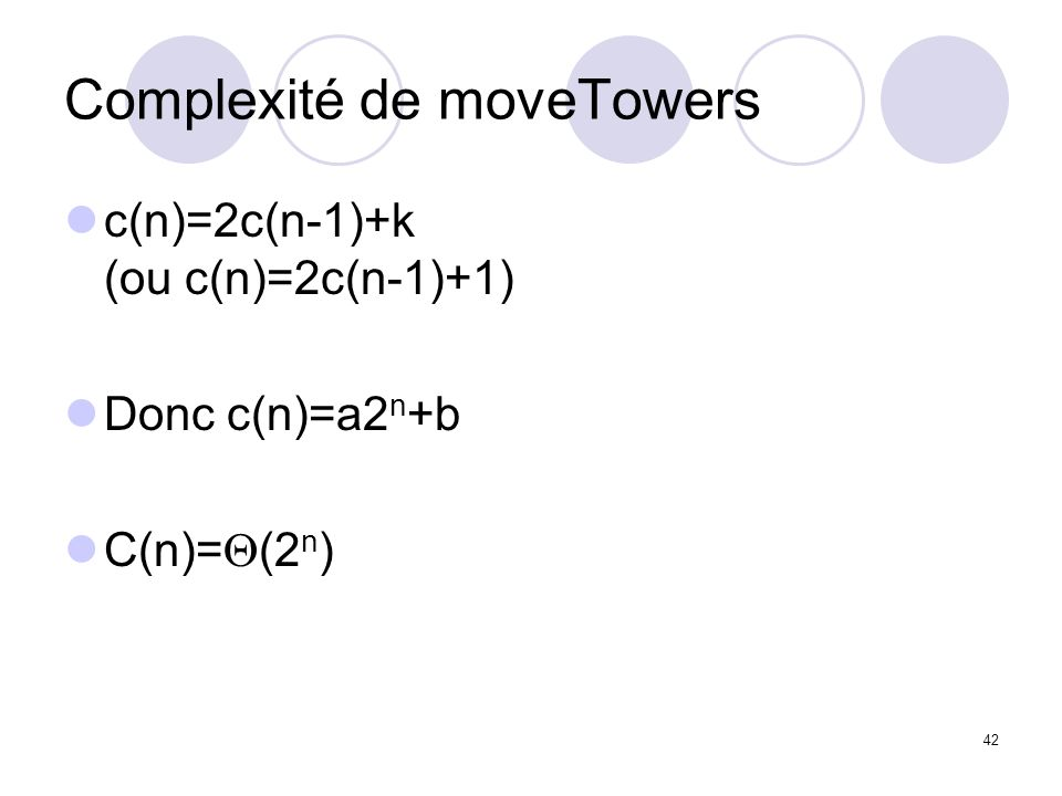 Complexité de moveTowers