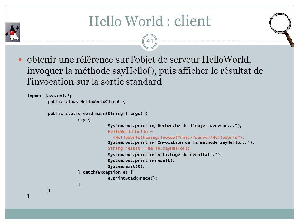 Hello World : client