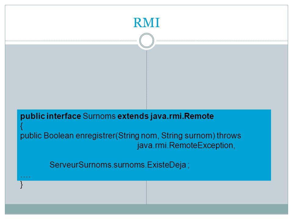 RMI public interface Surnoms extends java.rmi.Remote {