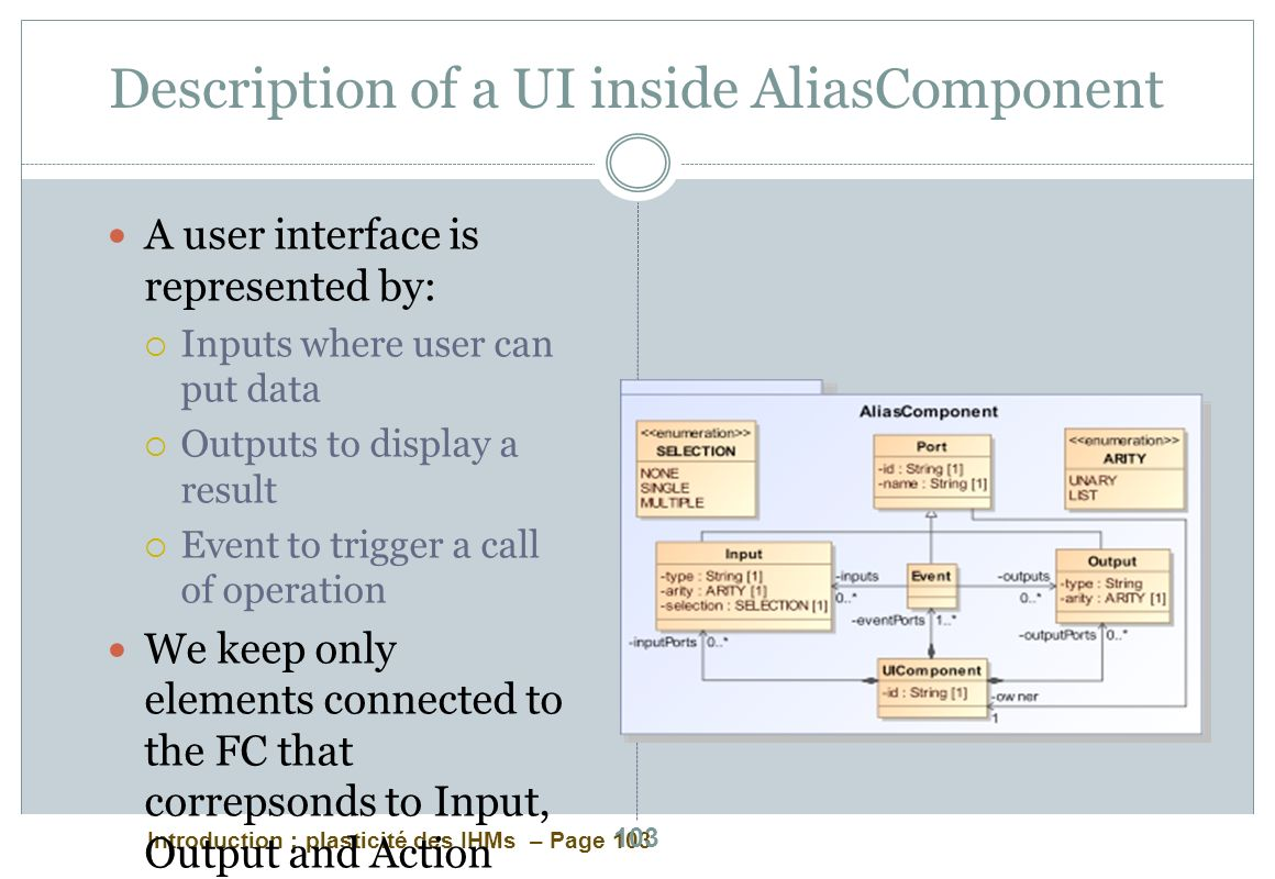 Description of a UI inside AliasComponent