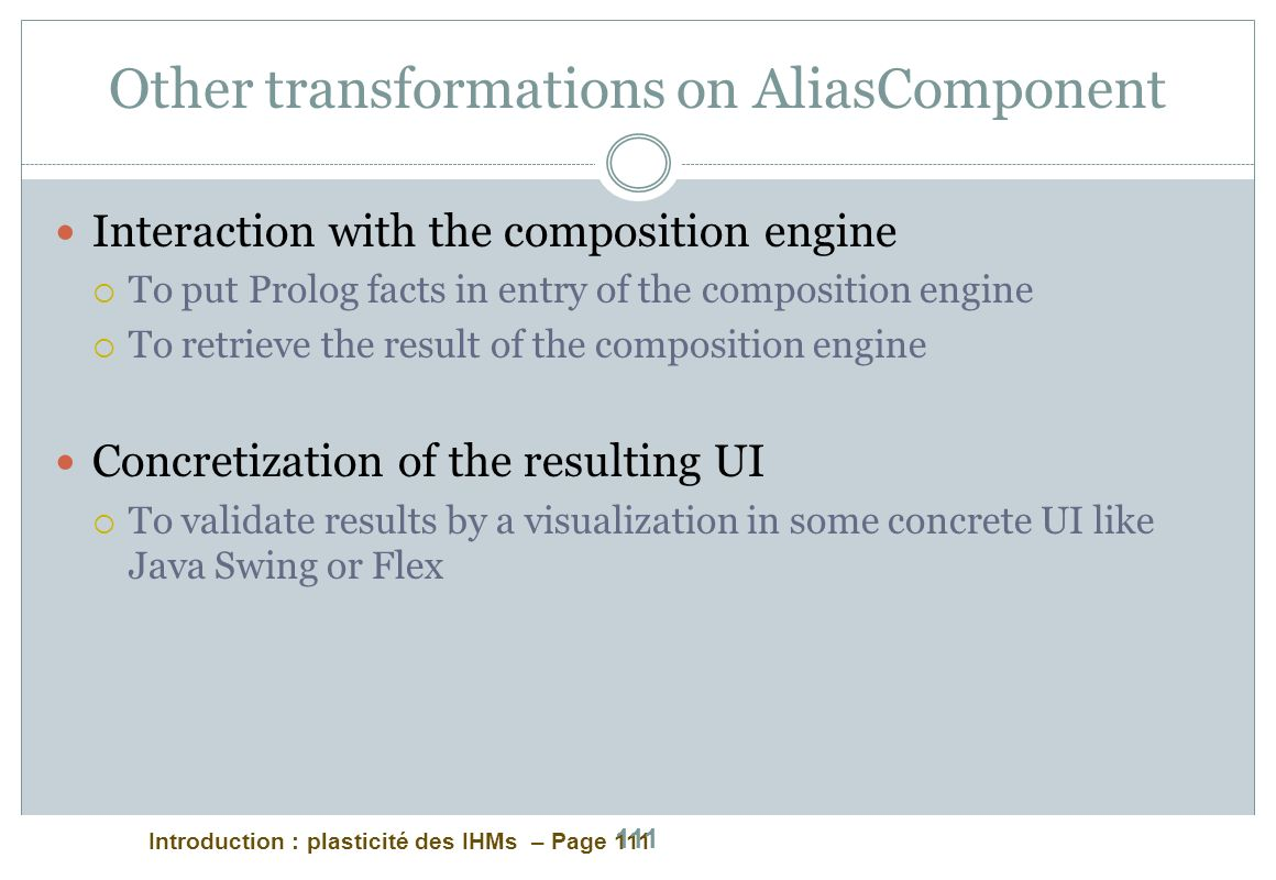 Other transformations on AliasComponent