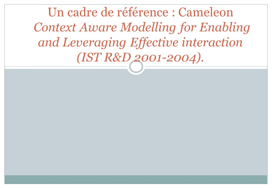 Un cadre de référence : Cameleon Context Aware Modelling for Enabling and Leveraging Effective interaction (IST R&D 2001-2004).