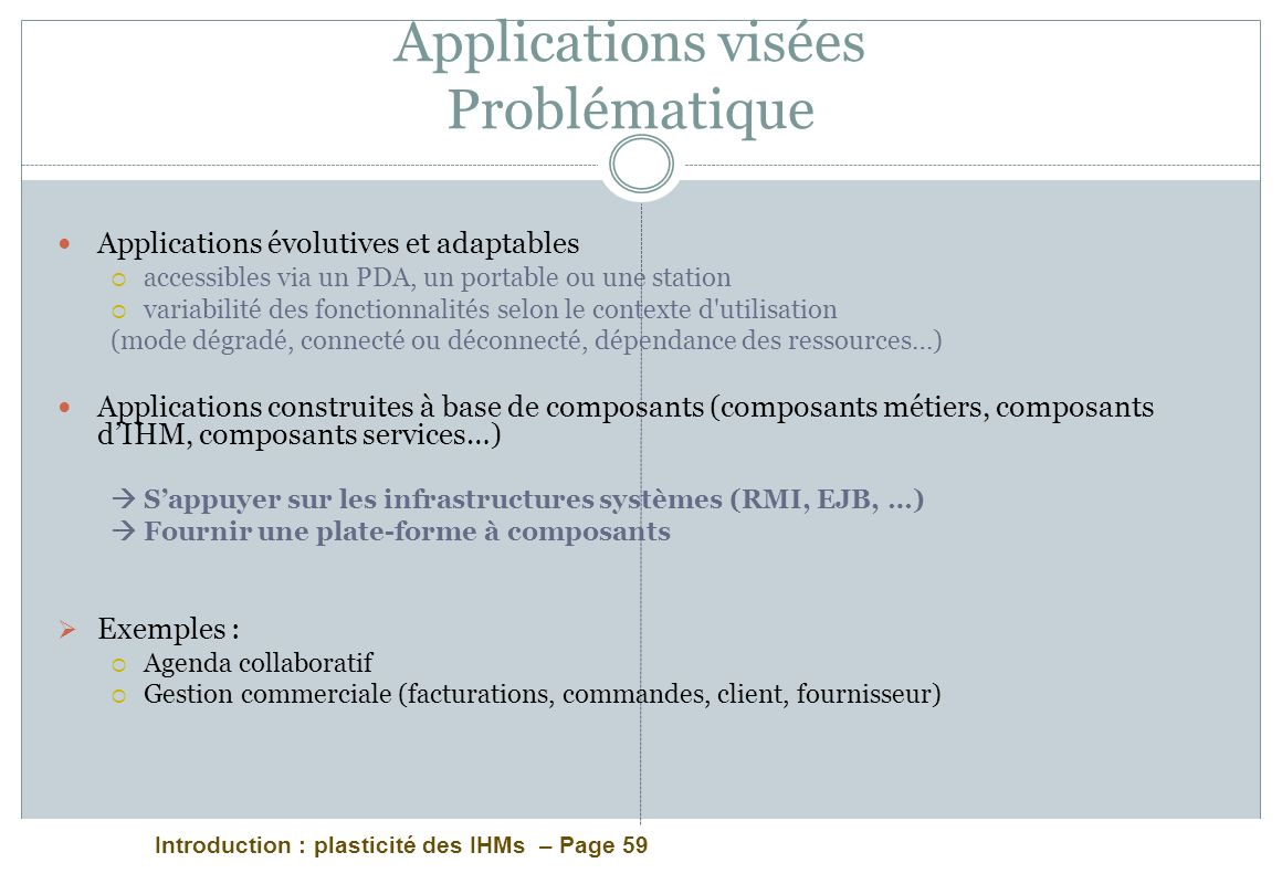 Applications visées Problématique