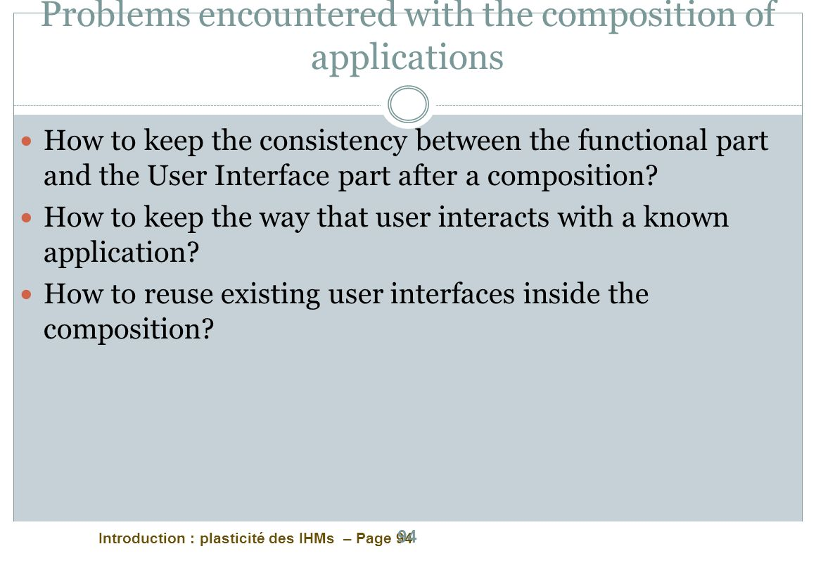 Problems encountered with the composition of applications
