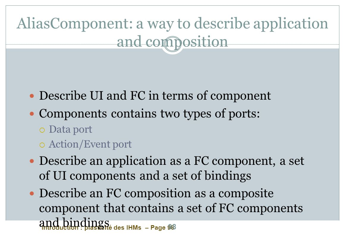 AliasComponent: a way to describe application and composition