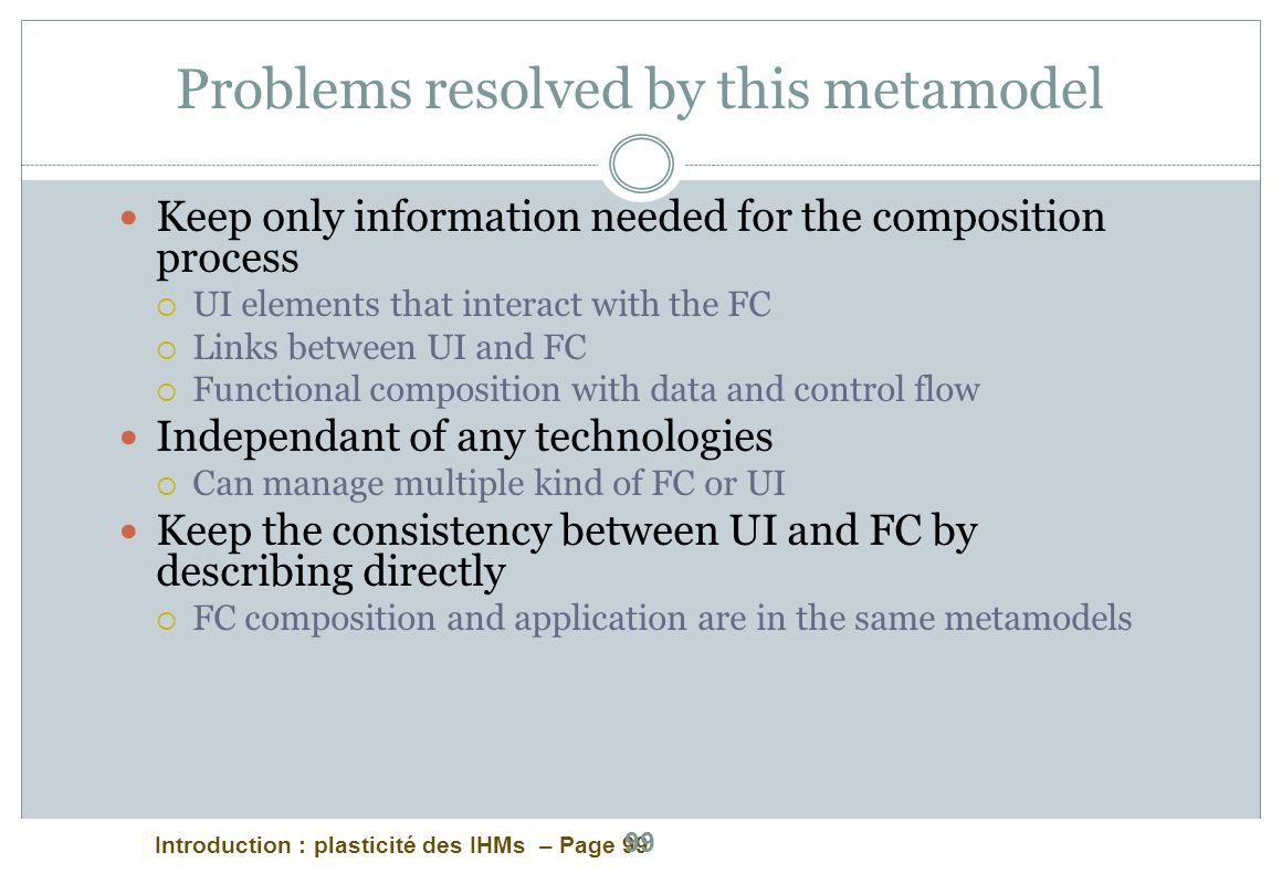 Problems resolved by this metamodel