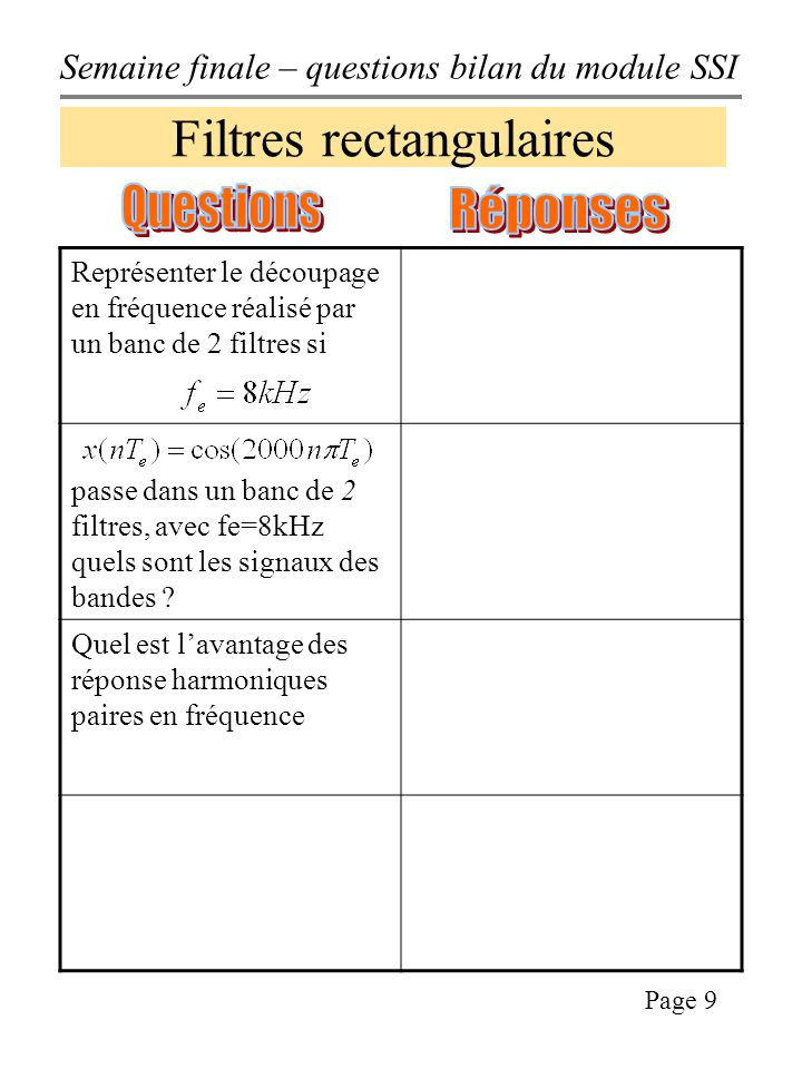 Filtres rectangulaires