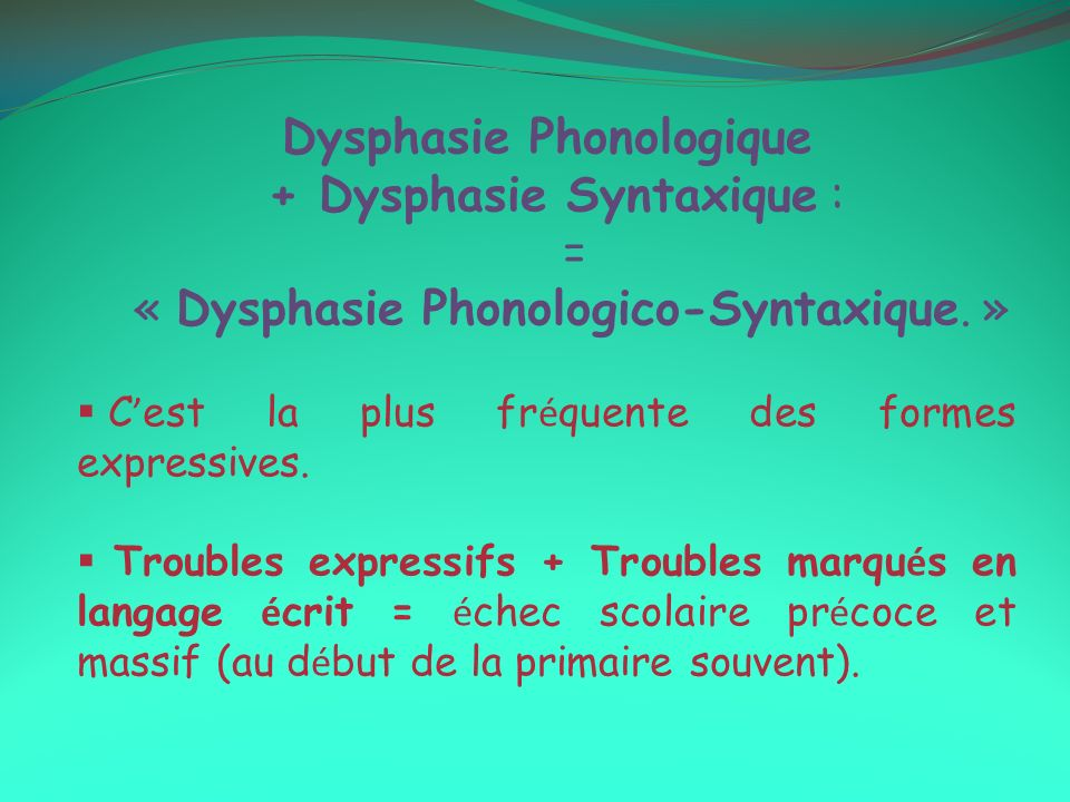 Dysphasie Phonologique