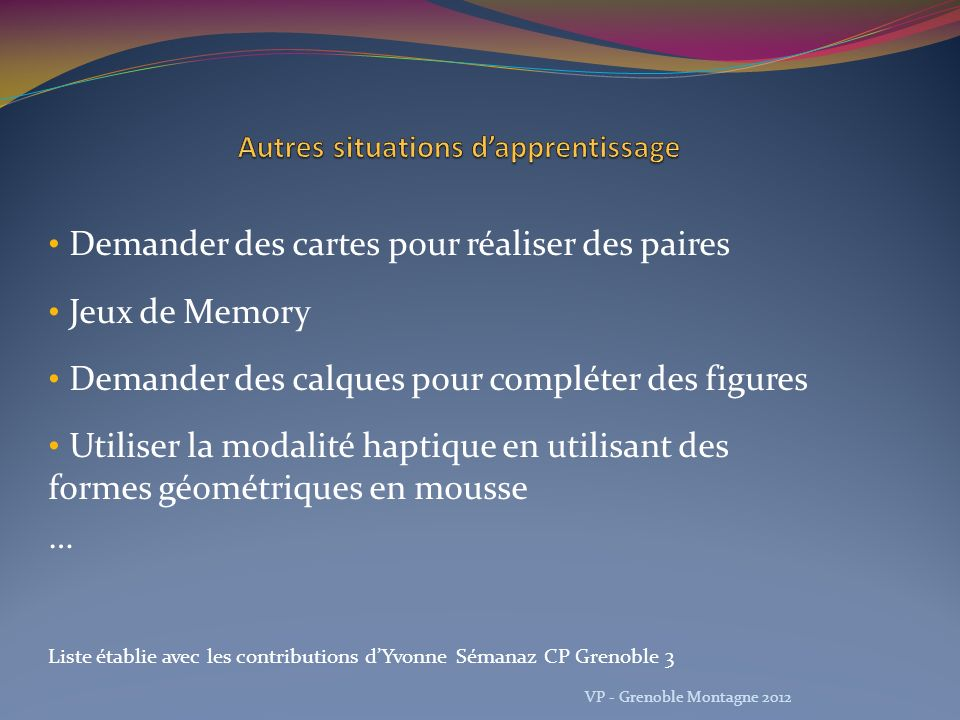 Autres situations d'apprentissage