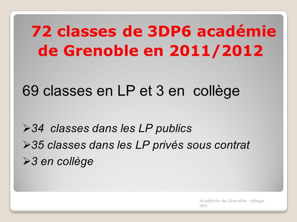 72 classes de 3DP6 académie de Grenoble en 2011/2012