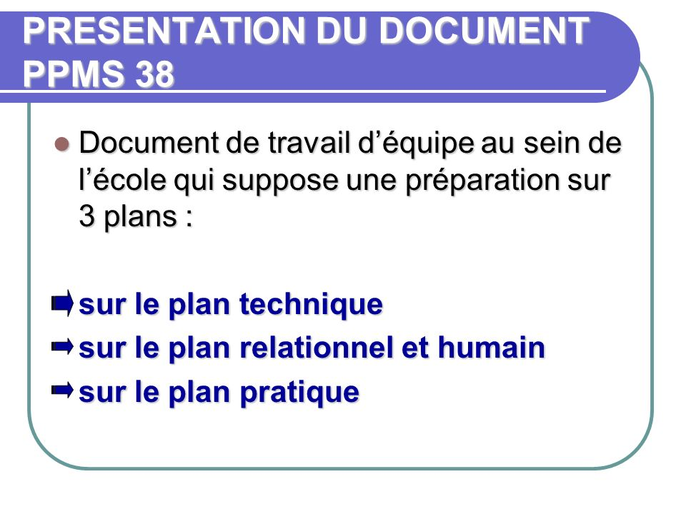 PRESENTATION DU DOCUMENT PPMS 38
