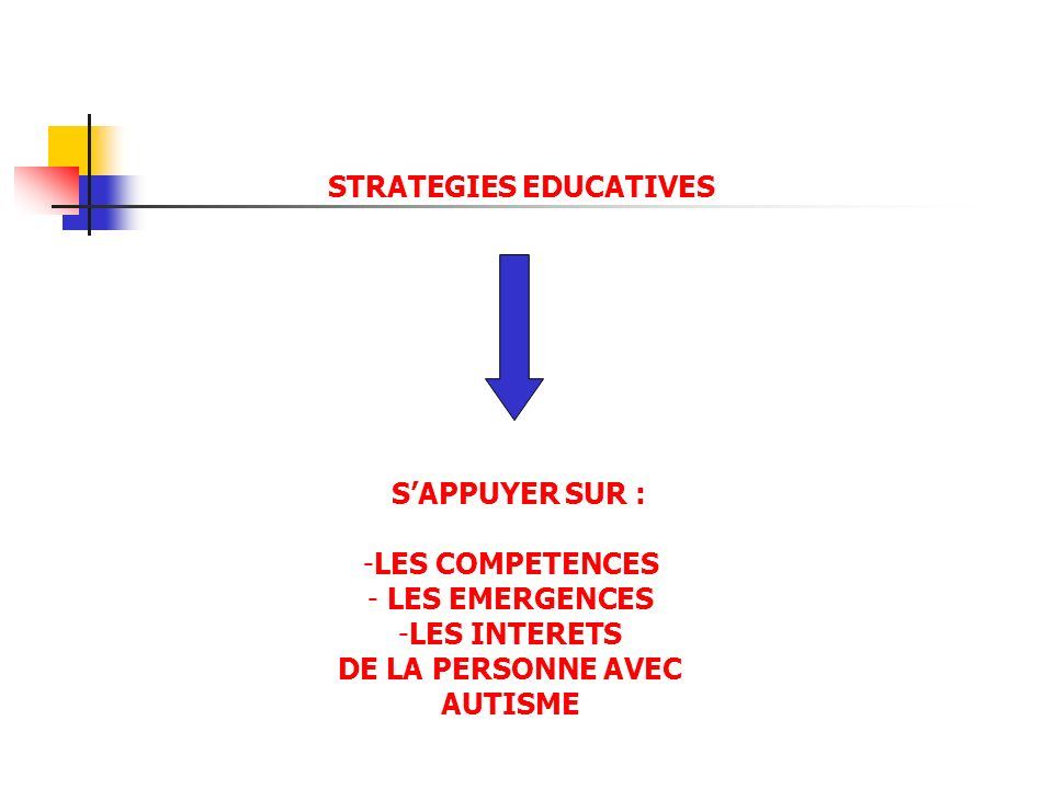 STRATEGIES EDUCATIVES DE LA PERSONNE AVEC AUTISME