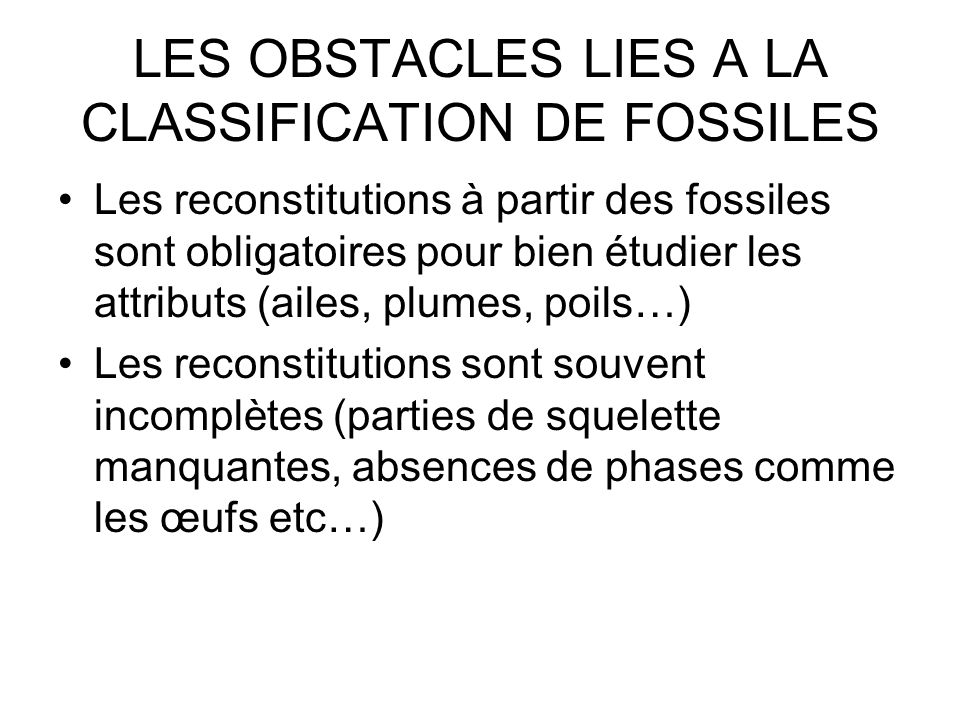 LES OBSTACLES LIES A LA CLASSIFICATION DE FOSSILES