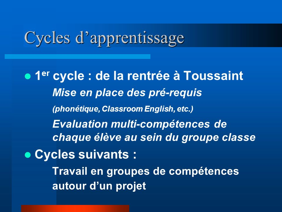 Cycles d'apprentissage