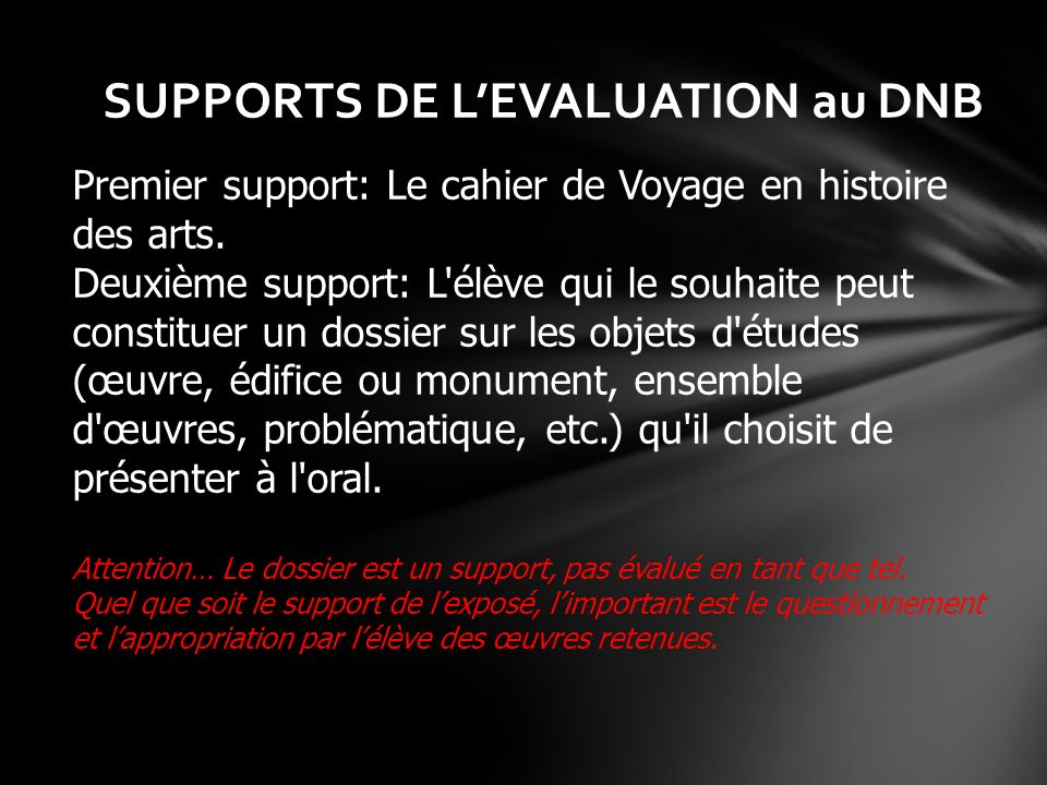 SUPPORTS DE L'EVALUATION au DNB