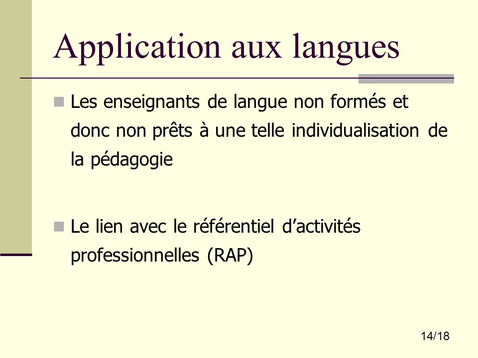 Application aux langues
