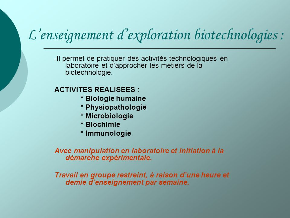 L'enseignement d'exploration biotechnologies :
