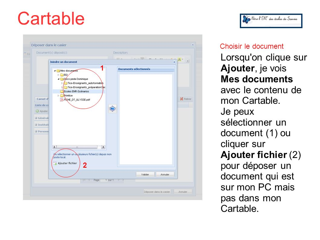 Cartable Choisir le document.