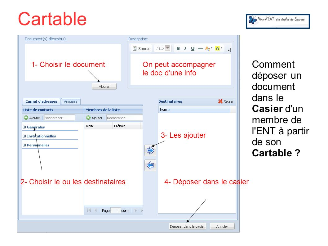 Cartable Comment déposer un document dans le Casier d un membre de l ENT à partir de son Cartable