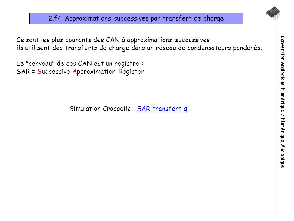 2.f/ Approximations successives par transfert de charge