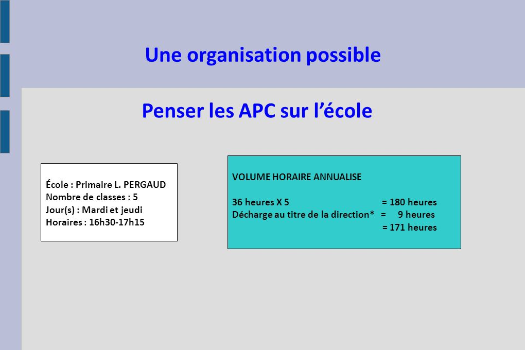 Une organisation possible