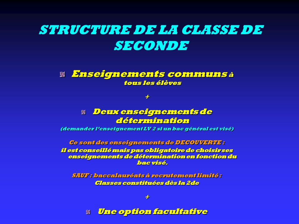 STRUCTURE DE LA CLASSE DE SECONDE
